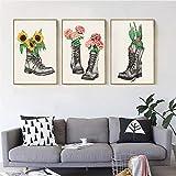 Arte de la pared de la impresión de la lona del cartel moderno de la flor y las botas de la pintura del girasol del cactus de la pintura creativa simple sala de estar Decoración del hogar-30x50