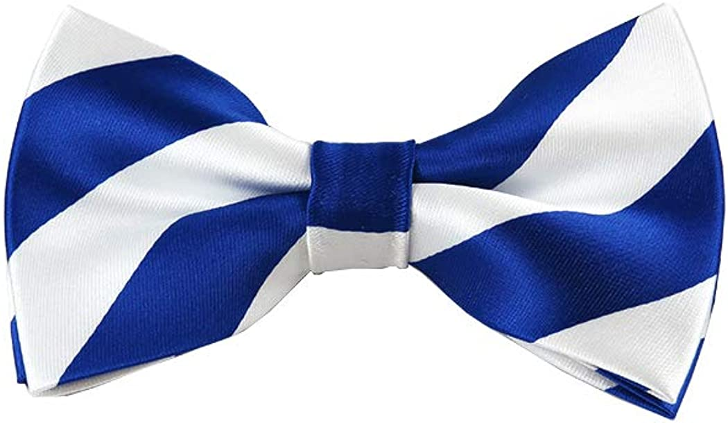Royal Blue and White College Stripe Pre-Tied Bow Tie
