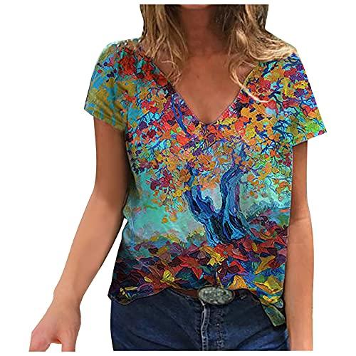 Amandaz Damen Kurzarm Oberteile Blumen Motiv Tunika Drucken Rundhals Tshirt Bluse Top Frühjahr V-Ausschnitt Farbe-T-Shirt