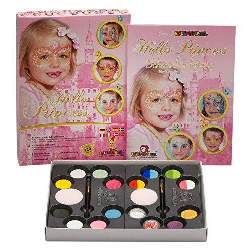 Eulenspiegel 212073 - Hello Princess Schmink-Palette, 10 Profi-Aqua Farben, 4 Split Cakes, 2 Glitter, 2 Schwämme, 2 Pinsel, 1 Anleitung