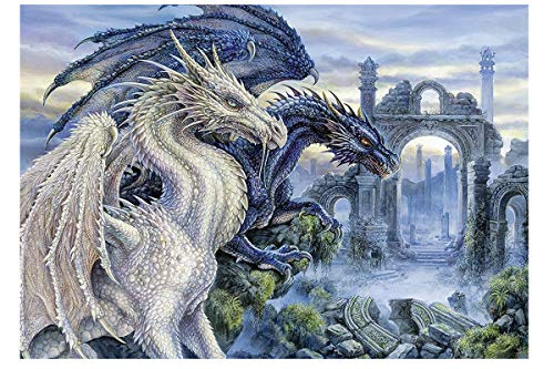 Twuky 5D DIY Diamond Set Full Diamond Diamond Painting Living Room Wall Sticker,Drache(12X16inch)