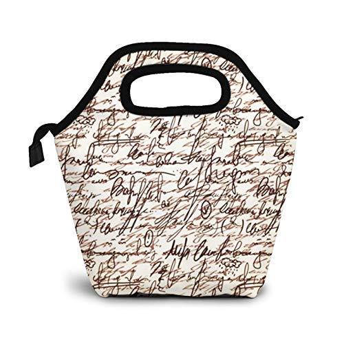 Bolsa Térmica Comida Bolsas De Almuerzo para Mujeres Hombres Niñas Niños Bolsa Isotérmica De Almuerzo Poesía Mano Escribir Marrón