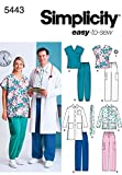 Simplicity Easy To Sew Men and Women's Scrubs and Doctor's Outfit Costume Sewing Pattern, Sizes XL-XXXL