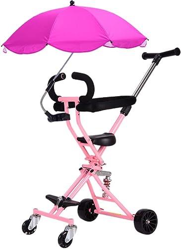 Bébé GUO@ Chariot One-Click Pliant pour Enfants Tricycle Poussette portable Simple Landau avec Le Parapluie
