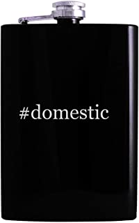 #domestic - 8oz Hashtag Hip Alcohol Drinking Flask, Black
