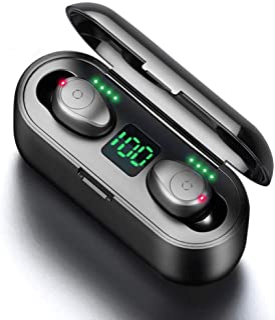 YOCOO Auriculares Bluetooth Inalámbricos, Audífonos Bluetooth 5.0 Deportivos In Ear Sonido Estéreo Caja de Carga, Audífonos Inalámbrico IPX7 Impermeable con Pantalla LCD Cancelación de Ruido Negro