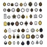 Julie Wang 20x verschiedene Rahmen, Farbig legiert, Kamee-Fassung, 20–65mm, zum Basteln und zur Schmuckherstellung