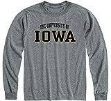 Ivysport University of Iowa Hawkeyes Long Sleeve Adult Unisex T-Shirt, Classic, Charcoal Grey, Medium