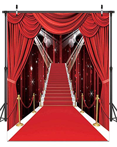 Hollywood Theme Party Decorations Photo Backdrops Red Carpet Backgrounds Vinyl Photography Background Backdrops for Wedding Birthday Party Decoration 5x7ft 053