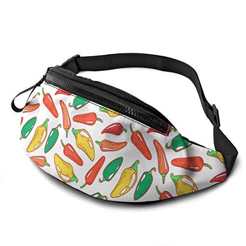 AOOEDM Roter und grüner Jalapeno Pfeffer Laufgürtel Gürteltasche Mode Taillentasche Tasche für Männer Frauen Sport Wandern