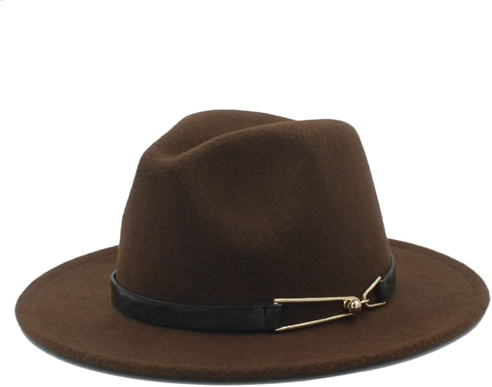 L.W.SUSL Men Women Winter Wool Fedora Hat Panama Jazz Hat Wide Brim Fascinator Church Hat