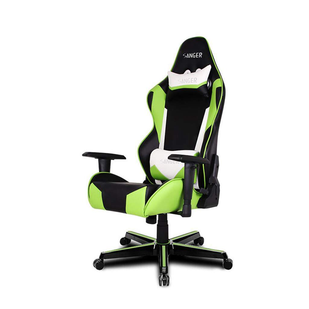 WYYY 椅子 E-スポーツゲームチェアレーシングシート人間工学に基づいた椅子シンプルなモダンリフティング回転チェアグリーン 強い耐久性