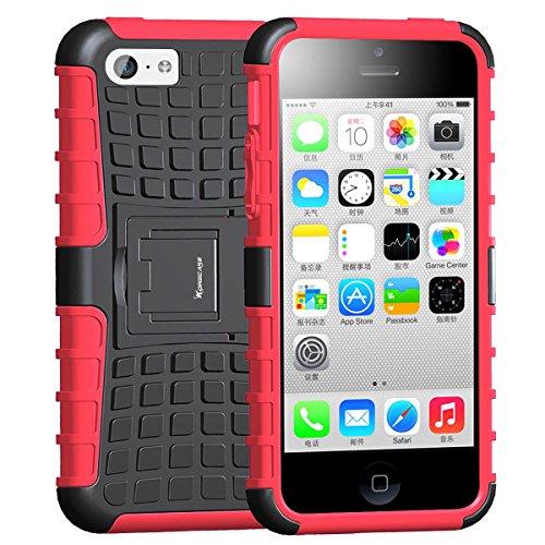 iPhone 5c Skins, Korecase iPhone 5c Hülle Silikon TPU Dual Layer Hybrid stoßfeste Handy Schutz Schalen mit Ständer (Rot)
