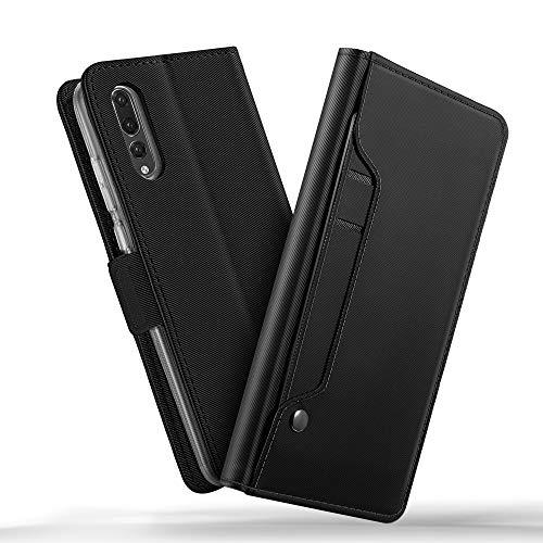 Huawei P20 Pro case, KuGi Huawei P20 Pro case, Ultra-Thin DD Style PU Cover + TPU Back Stand Case for Huawei P20 Pro Smartphone(Navy)