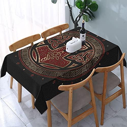 Mantel El Martillo de Thor, Negro, Rojo y Dorado, mesas rectangulares Reutilizables, Cubierta de Comedor, Cubierta de Mesa de poliéster, 137X183CM