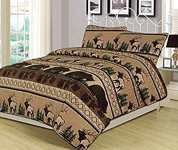 HowPlumb Queen Quilt Set 3 Piece Comforter Bear Elk Log Cabin Lodge Rustic