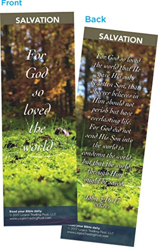 Christian Bookmark with Bible Verse, Pack of 25, Salvation Themed, For God So Loved the World, John 3:16