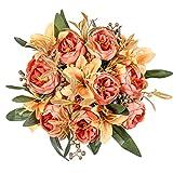Kisflower 2 racimos de Flores de peonía Artificiales Ramo de Peonía de Seda con Lirio Ramo de Lirio Artificial para decoración de Oficina de Boda de Mesa en casa (Naranja)