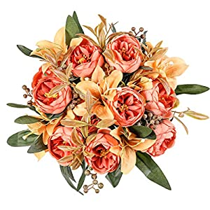 Kisflower 2 Bunches Artificial Peony Flowers Silk Peony Bouquet with Lily Artificial Lily Bouquet for Home Table Wedding Office Decor (Orange)