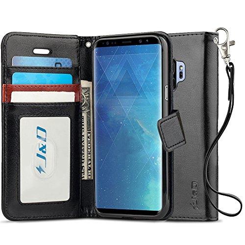 J&D Compatible para Galaxy S9 Funda, [Bloqueo de RFID] [Soporte Plegable] Funda Pesada Resistentes Billetera para Samsung Galaxy S9 Funda Cuero - [NO es Compatible con Galaxy S9 Plus] - Negro