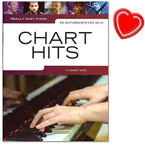 Really Easy Piano: Chart Hits Vol. 3-Automne/Hiver 2016-17chansons Pop actuelles pour piano-Partitions avec cœur Note colorée Pince
