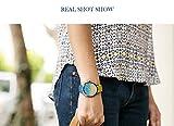 Evansamp Damen-Armbanduhr, niedlich, Schlichter Farbverlauf Gold, Quarz, Edelstahl, Lederarmband