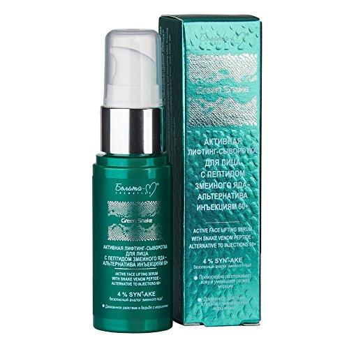 Green Snake aktives Anti-Aging Gesichtslifting Serum 60+ 30g, mit SYN-AKE Schlangengift-Peptid, Kollagen, Elastin, Ginseng-Extrakt, Ingwer-Extrakt, Betain