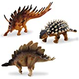 deAO Dinosaur Figures with Kentrosaurus + Ankylosaurus + Stegosaurus