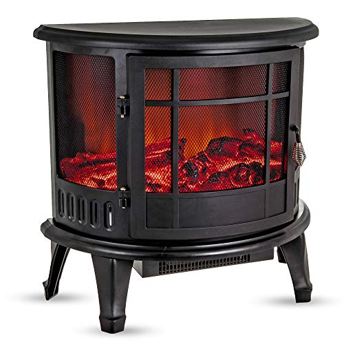 Fineway Electric Stove Heater with Log Burner Flame Effect Fire – 1800W, Black...