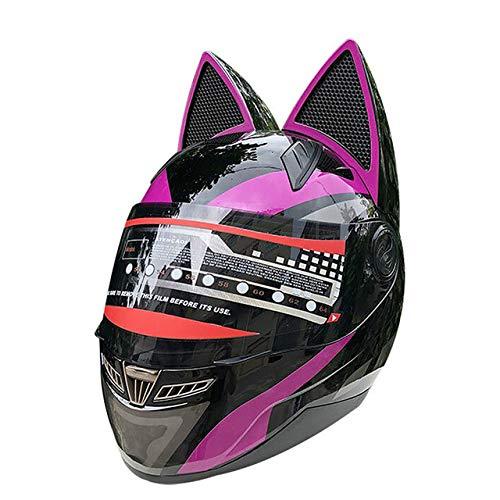 MYSdd Motorradhelm männlich weiblich Persönlichkeit Moto Helm Capacete De Moto weiß Integralhelm Casco Moto - lila X XL