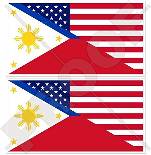 USA United States of America & PHILIPPINES, American-Philippine Flag 3' (75mm) Vinyl Bumper Stickers, Decals x2