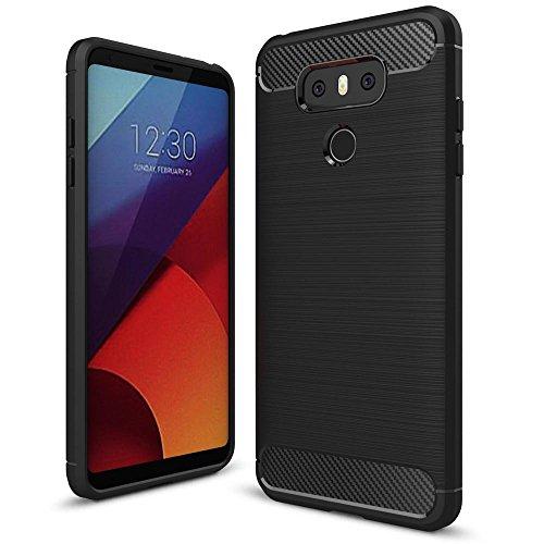 NALIA Funda Carbono Compatible con LG G6, Protectora Movil Carcasa Cobertura Silicona Ultra-Fina Gel Bumper Estuche, Ligera Goma Telefono Cubierta Delgado Cover Smart-Phone Case, Color:Negro