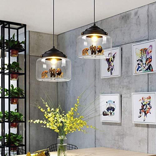 Palm kloset Moderna Personalidad Minimalista Creativa Lámpara de Cristal Dormitorio Bar Habitación Infantil Lámpara de Caricatura 5m2-10m2 (Color : Negro) (Color : Black)
