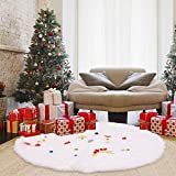 Christmas Tree Skirt 60 Inch Large White Faux Fur Tree Skirt, Double Layers Quilted Thick Luxury Soft Plush Xmas Tree Skirts Home Party Christmas Decorations