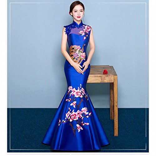 bai Chinesische Cheongsam Schulter Retro Stickerei Braut Tasting Kleid Red Slim Fisch Schwanz Abend Party Bankett,D,M