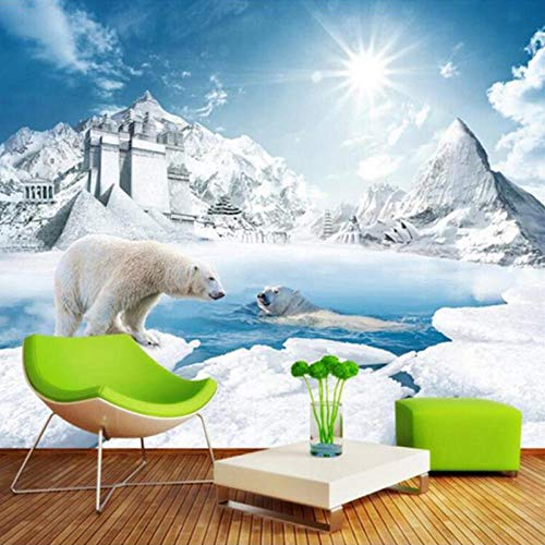 RTYUIHN Mural 3D Cute Polar Bear Ice Snow Sunshine Wall Painting Bedroom Living Room Sofa Mural Photo Wallpaper
