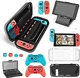 Uiter Kit Accesorios para Nintendo Switch - Funda con patrón de Hormiga para/Funda Donde caben Tarjetas de Juego/Funda de Silicona/Funda de TPU para/Soporte/Protector de Pantalla HD(17 in 1)