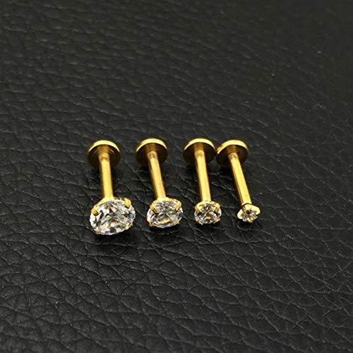 Mujeres Labios Anillo Helix Piercing Pendientes Joyería (Main Stone Color : Length 8mm CZ 5mm, Metal color : Gold)