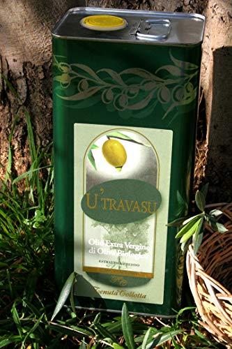 U'Travasu® - Olio extravergine di oliva Biologico latta 5l - 100% italiano - Prodotto in Sicilia - Estratto a freddo