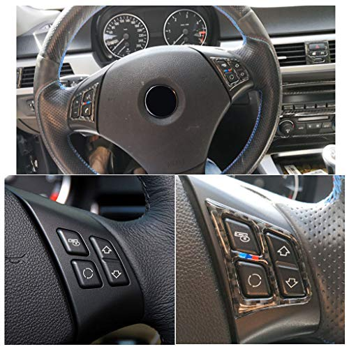 Garniture de Couvercle de Bouton de Volant de Style de Fibre de Carbone ABS pour Série 3 E90 2005-2012 Style 1