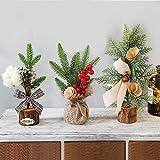 Mini árbol de navidad,3 PCS Christmas Tabletop Tree Árbol de Navidad artificial con adornos Cono de pino, Bowknot y bayas rojas Decoración navideña para decoraciones de mesa y escritorio de Navidad