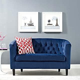 Modway Prospect Velvet Upholstered Contemporary Modern Loveseat In Navy