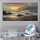 GZCJHP Cuadro sobre lienzo 50 x 70 cm, sin marco, diseño de paisaje playero con olas marinas