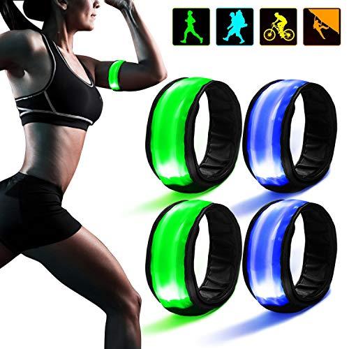 TABIGER 4 Pack LED Bracciale Riflettente, Bande Catarifrangenti Alta visibilità con Chiusura Velcro, Slap Fasce da Braccio da Corsa per Braccia Polsi Jogging Running Bici Moto