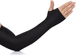 CABLE GALLERY Unisex Nylon Fingerless Arm Sleeves with Thumb Hole (Black)