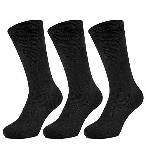 All Things Accessory 3 Pairs Thermal Socks - Brushed Thick Warm Winter Socks (Triple Pack) (3pk - Mens Thermal Black UK 6-11)