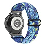 WONMILLE Elastic Bands Compatible with Samsung Galaxy Watch 3 41mm/Galaxy Watch Active/Active 2, 20mm Stretchy Loop Adjustable Wristband Strap for Samsung Galaxy Watch 42mm (Starry Sky)