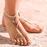 Obmyec Boho Pearl Barefoot Sandals Beaded Anklets Bracelet Starfish Wedding Foot Chain jewelry 2pcs for Women and Girls