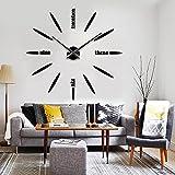 掛け時計 ウォールクロック 手作り DIY 壁時計 セパレートクロック おしゃれ時計 ウォールステッカー  インテリア シンプル 壁掛け時計 北欧スタイル ブラック/ゴールド/シルバー 3色を選ぶ (ブラック)