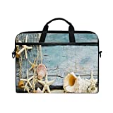 Seashells Starfishes Beach Sand 15-15.4 inch Laptop Sleeve Case Notebook Waterproof Shoulder Bags for Men
